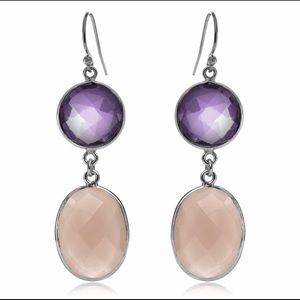 Amethyst And Pink Chalcedony Double Drop Earrings